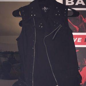 ROYAL BONES studded black vest